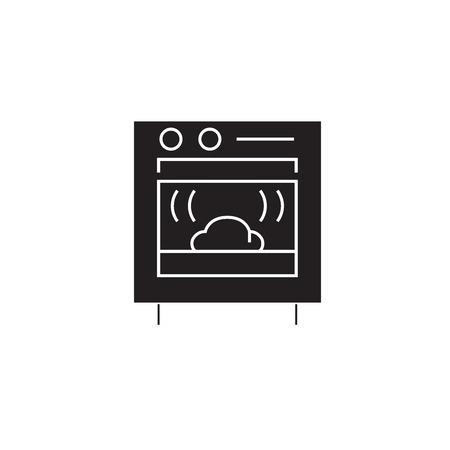 Baking bread black vector concept icon. Baking bread flat illustration, sign, symbol