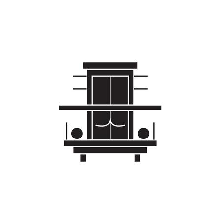 Balcony, terrace black vector concept icon. Balcony, terrace flat illustration, sign, symbol