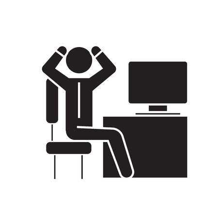 Anxious businessman in office black vector concept icon. Anxious businessman in office flat illustration, sign, symbol