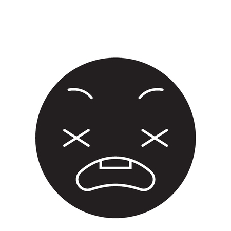 Anxious emoji black vector concept icon. Anxious emoji flat illustration, sign, symbol