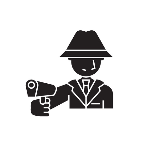 Armed man black vector concept icon. Armed man flat illustration, sign, symbol