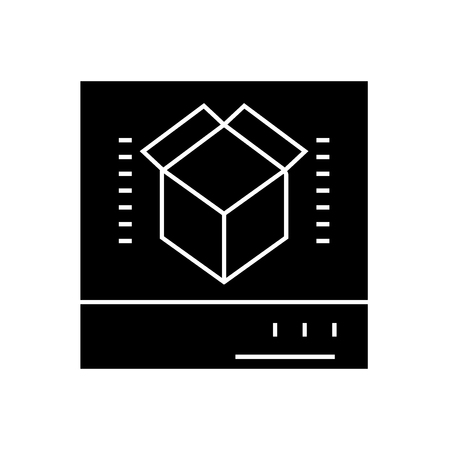 3d scanner black vector concept icon. 3d scanner flat illustration, sign 일러스트