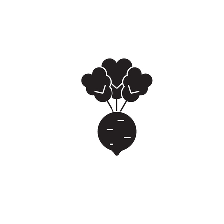 Beet, roots black vector concept icon. Beet, roots flat illustration, sign, symbol Ilustração
