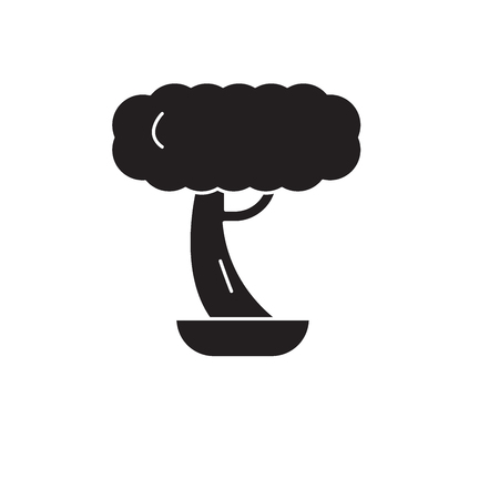 Bonsai black vector concept icon. Bonsai flat illustration, sign, symbol Ilustração