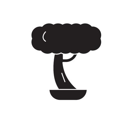 Bonsai black vector concept icon. Bonsai flat illustration, sign, symbol Illustration