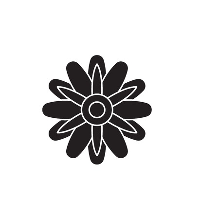 Astra flower black vector concept icon. Astra flower flat illustration, sign, symbol Ilustrace