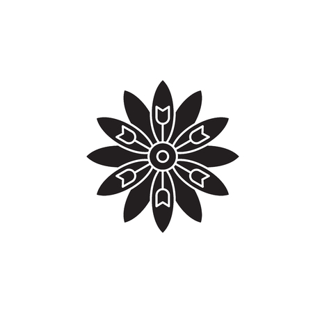 Astra flower black vector concept icon. Astra flower flat illustration, sign, symbol Reklamní fotografie - 113693836