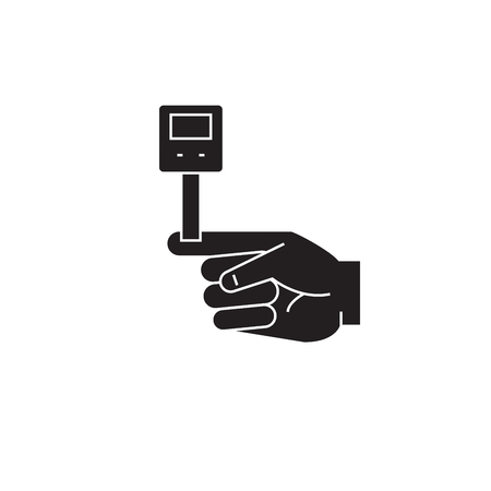 Blood sugar level black vector concept icon. Blood sugar level flat illustration, sign, symbol 向量圖像