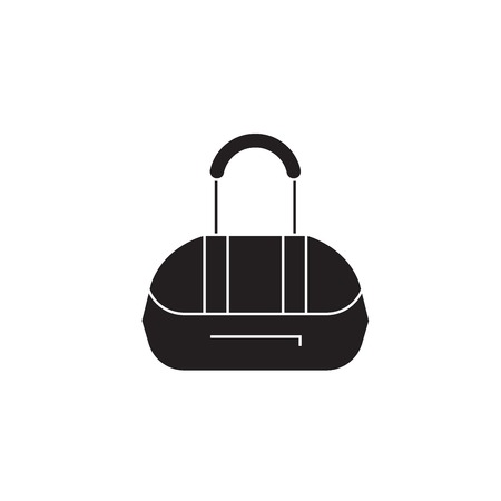 Athletic bag black vector concept icon. Athletic bag flat illustration, sign, symbol 向量圖像