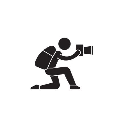 Attentive photo tourist black vector concept icon. Attentive photo tourist flat illustration, sign, symbol