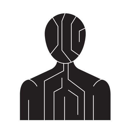 Body digital structure black vector concept icon. Body digital structure flat illustration, sign, symbol