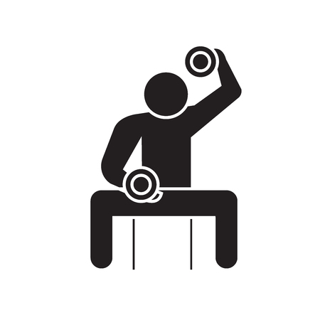 Bodybuilder holding dumbell black vector concept icon. Bodybuilder holding dumbell flat illustration, sign, symbol