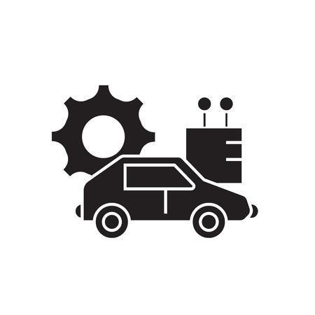 Autonomous car black vector concept icon. Autonomous car flat illustration, sign, symbol 일러스트