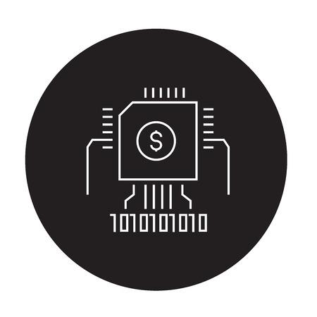 Blockchain knowledge black vector concept icon. Blockchain knowledge flat illustration, sign, symbol