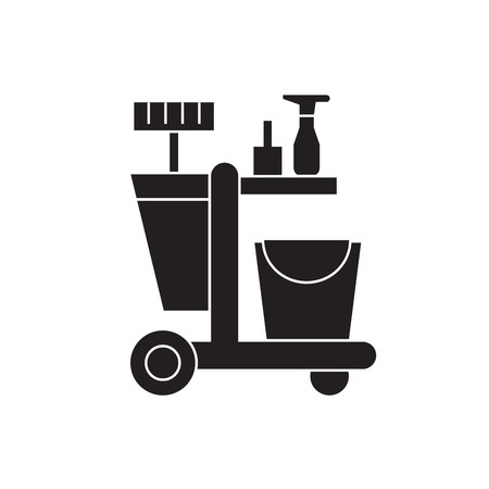 cleaning trolley black vector concept icon.  cleaning trolley flat illustration, sign, symbol