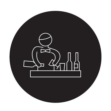 Bartender making cocktail black vector concept icon. Bartender making cocktail flat illustration, sign, symbol