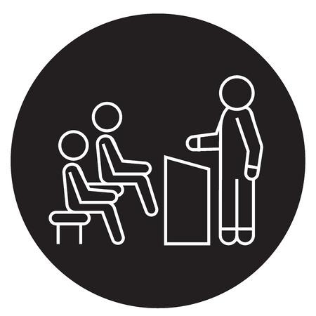 Business lecturer black vector concept icon. Business lecturer flat illustration, sign, symbol