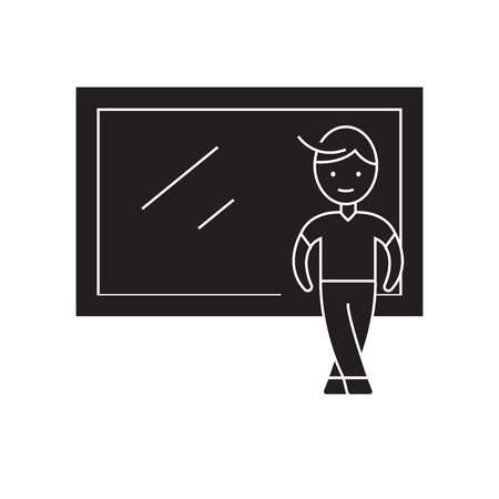 Boy at the window black vector concept icon. Boy at the window flat illustration, sign, symbol