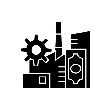 Business industry black vector concept icon. Business industry flat illustration, sign, symbol Illustration