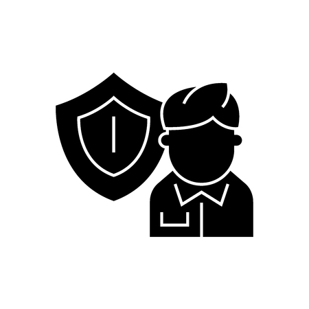 Business insurance black vector concept icon. Business insurance flat illustration, sign, symbol