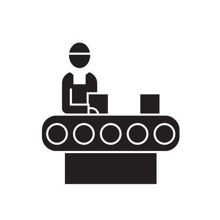 Bricks industry black vector concept icon. Bricks industry flat illustration, sign, symbol Illustration