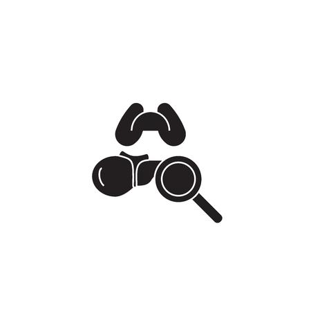 Bronchial noises black vector concept icon. Bronchial noises flat illustration, sign, symbol