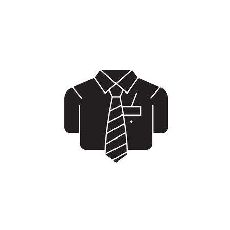 Bsuiness casual shirt black vector concept icon. Bsuiness casual shirt flat illustration, sign, symbol