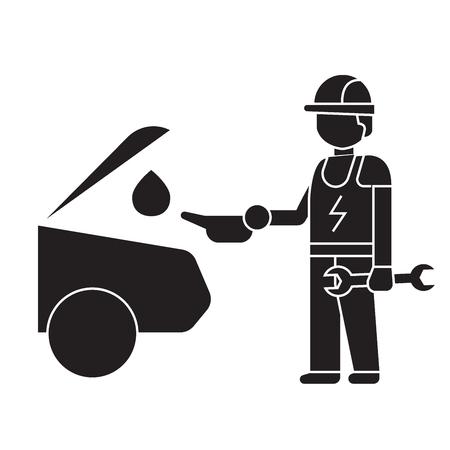 Car oil change black vector concept icon. Car oil change flat illustration, sign, symbol Illustration
