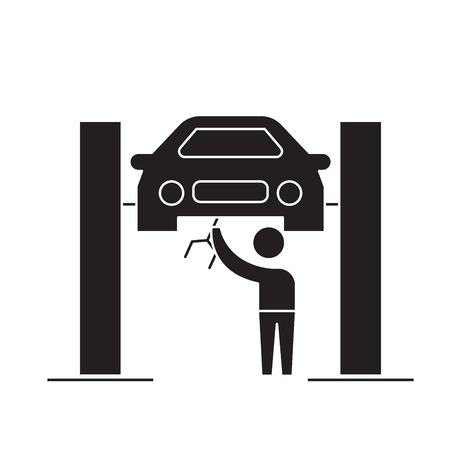 Car service center black vector concept icon. Car service center flat illustration, sign, symbol