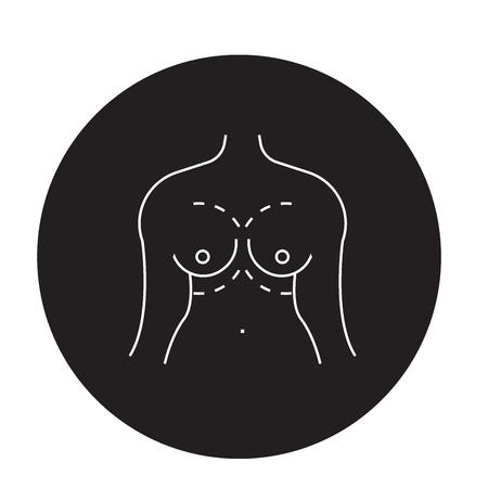 Breast augment black vector concept icon. Breast augment flat illustration, sign, symbol Archivio Fotografico - 113693983