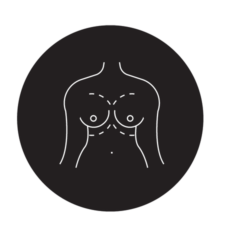 Breast augment black vector concept icon. Breast augment flat illustration, sign, symbol Illustration