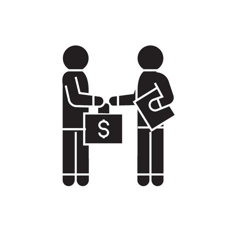 Bribery and corruption, man giving money black vector concept icon. Bribery and corruption, man giving money flat illustration, sign, symbol