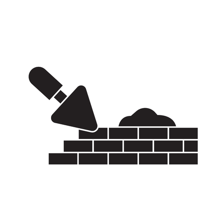 Brick laying masonry black vector concept icon. Brick laying masonry flat illustration, sign, symbol Çizim