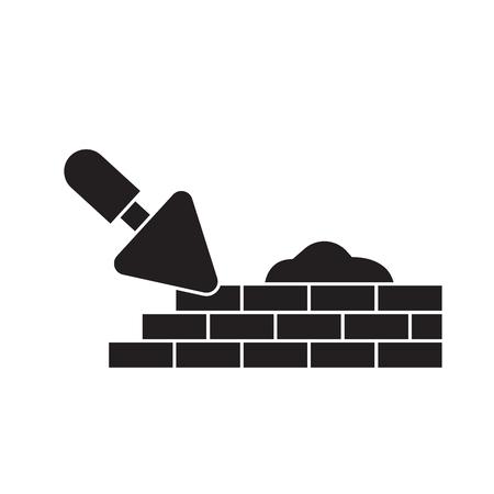 Brique pose maçonnerie vecteur noir icône concept. Maçonnerie de pose de briques télévision illustration, signe, symbole
