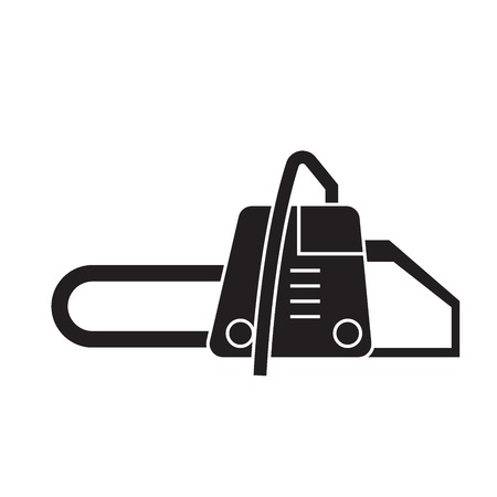 Chainsaw black vector concept icon. Chainsaw flat illustration, sign, symbol