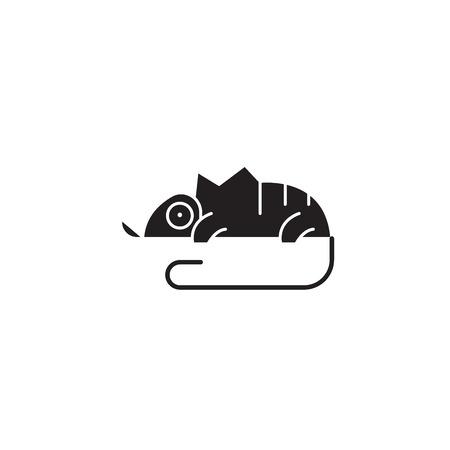 Chameleon black vector concept icon. Chameleon flat illustration, sign, symbol Stock Illustratie
