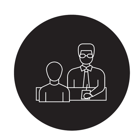 Businessman giving instructions black vector concept icon. Businessman giving instructions flat illustration, sign, symbol
