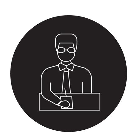 Businessman manager black vector concept icon. Businessman manager flat illustration, sign, symbol