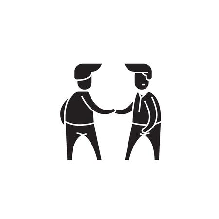 Business negogiation black vector concept icon. Business negogiation flat illustration, sign, symbol