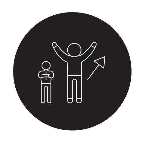 Businessman succsess black vector concept icon. Businessman succsess flat illustration, sign, symbol