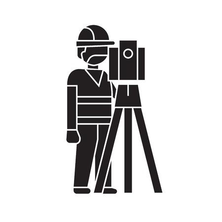 Edificio topógrafo concepto vector icono negro. Edificio topógrafo ilustración plana, signo, símbolo Ilustración de vector