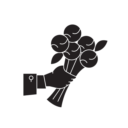 Bunch of flowers black vector concept icon. Bunch of flowers flat illustration, sign, symbol Illustration