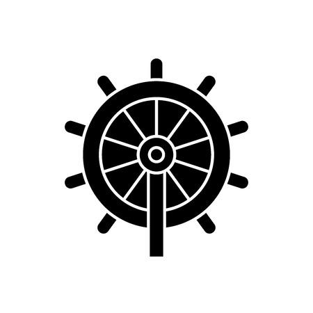 Business steering wheel black vector concept icon. Business steering wheel flat illustration, sign, symbol