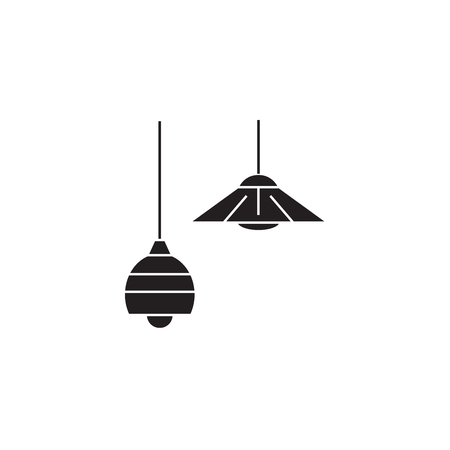 Ceiling lamps black vector concept icon. Ceiling lamps flat illustration, sign, symbol