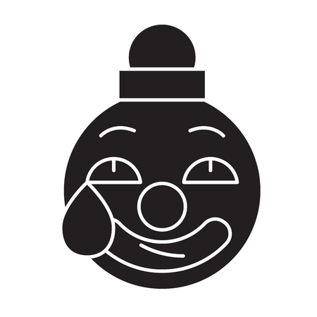 Clown emoji black vector concept icon. Clown emoji flat illustration, sign, symbol Çizim