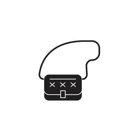 Clutch bag black vector concept icon. Clutch bag flat illustration, sign, symbol Illusztráció