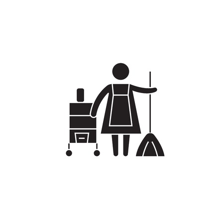 Cleaning service concept black vector concept icon. Cleaning service concept flat illustration, sign, symbol Illustration