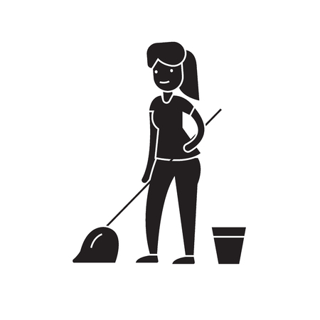 Cleaning with a mop black vector concept icon. Cleaning with a mop flat illustration, sign, symbol Standard-Bild - 113693995