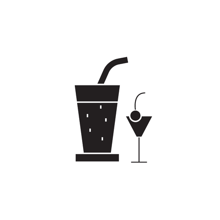 Cocktail drinks black vector concept icon. Cocktail drinks flat illustration, sign, symbol 版權商用圖片 - 126905906