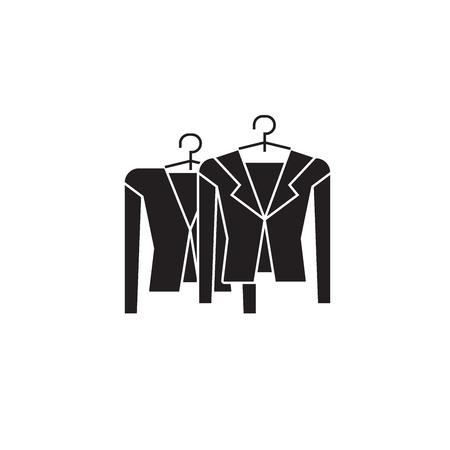 Clothing on racks black vector concept icon. Clothing on racks flat illustration, sign, symbol Stock Illustratie